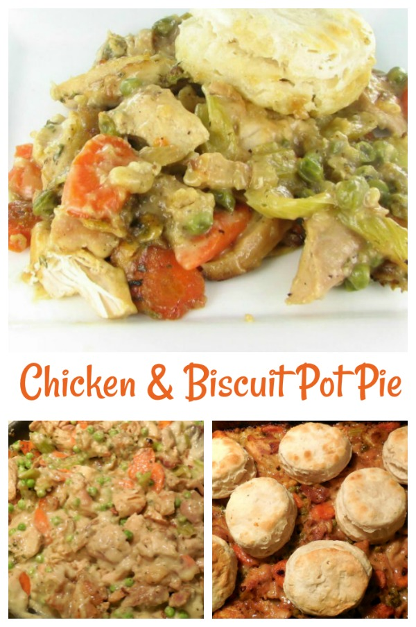 This recipe for chicken and biscuit pot pie is a fall comfort food that is super easy to prepare.