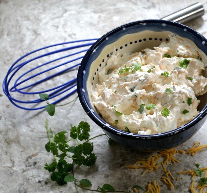 cream cheese, sour cream and herbs