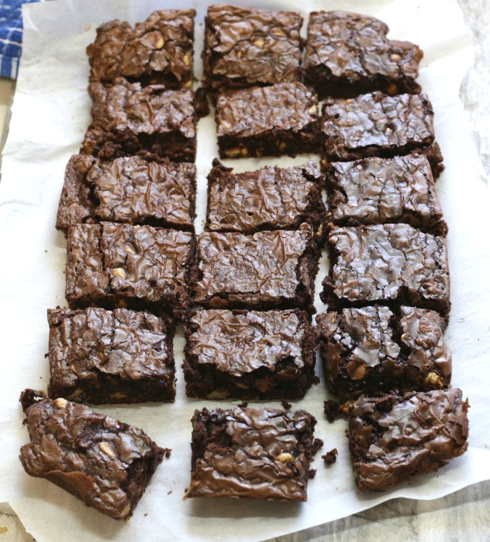 Rich chocolate brownies cut into squares