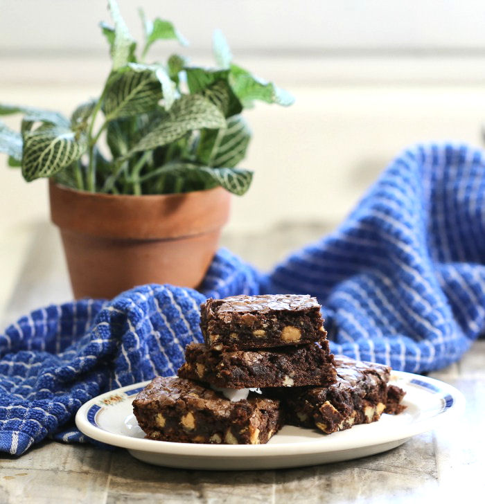Fudge brownies with peanut butter and pecans