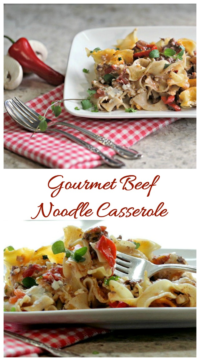 This gourmet beef noodle casserole is easy enough for a busy week night and special enough for guests