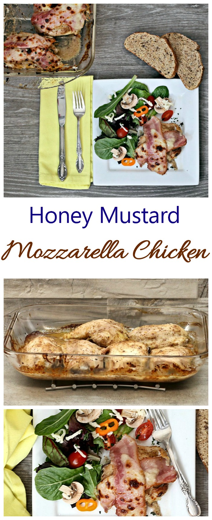 This mozzarella chicken has a delicious honey mustard and bacon topping.