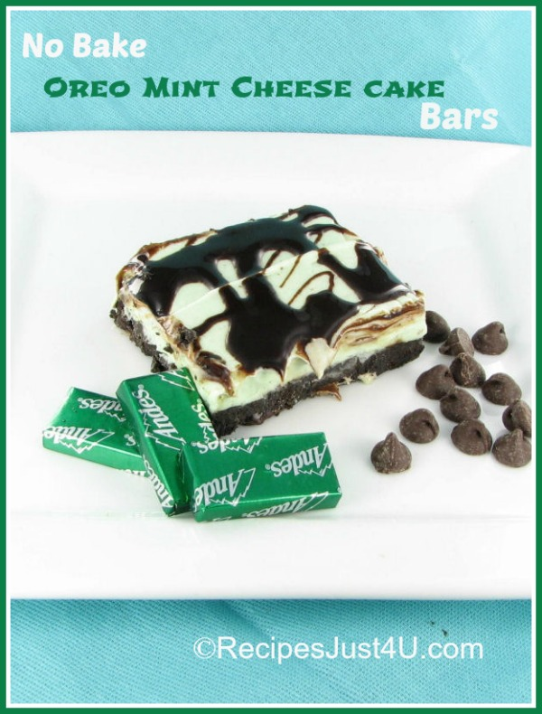 No bake Oreo Mint Cheesecake bars