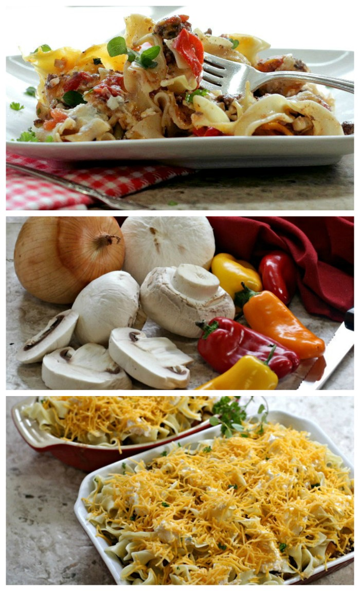 Noodle casserole with ground beef and cream cheese