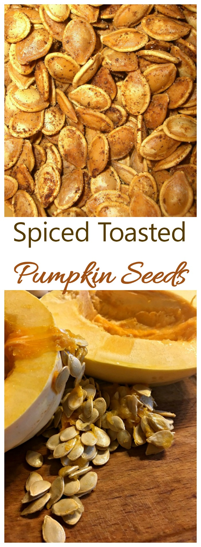These spiced toasted pumpkin seeds have a sweet and tangy taste and are super easy to make. Pumpkin pie spice gives them a feel good nostalgic flavor.