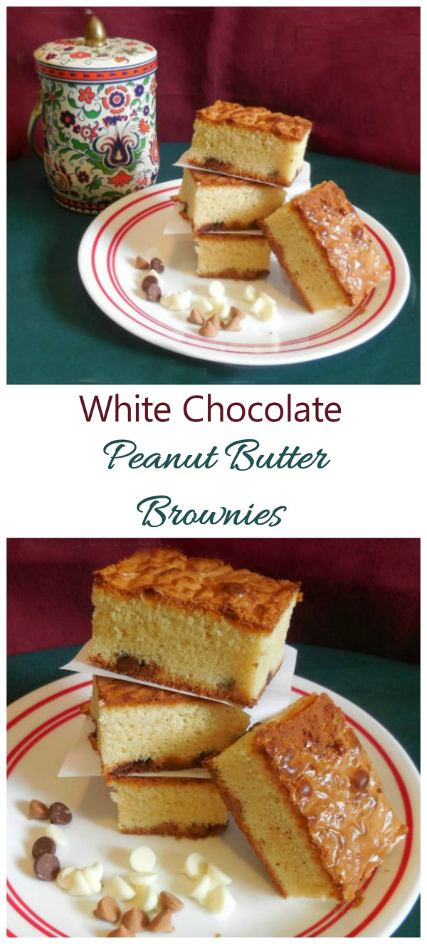 These white chocolate brownies have the addition of peanut butter to the flavor. They are a nice twist on the traditional dark brownie.