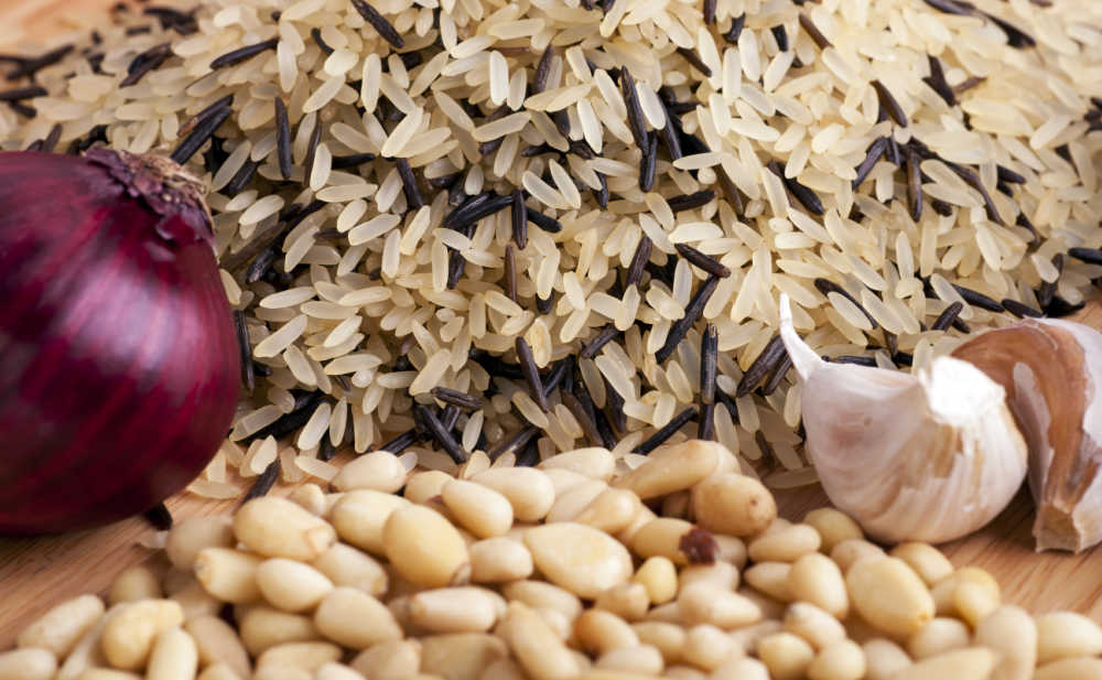 Wild rice with red onion, garlic and pine nuts.