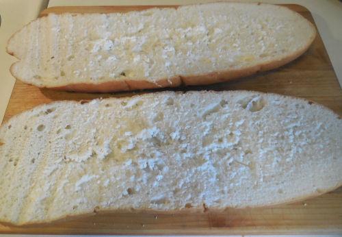 Itailan bread split lengthwise