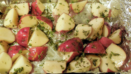 herbs on potatoes