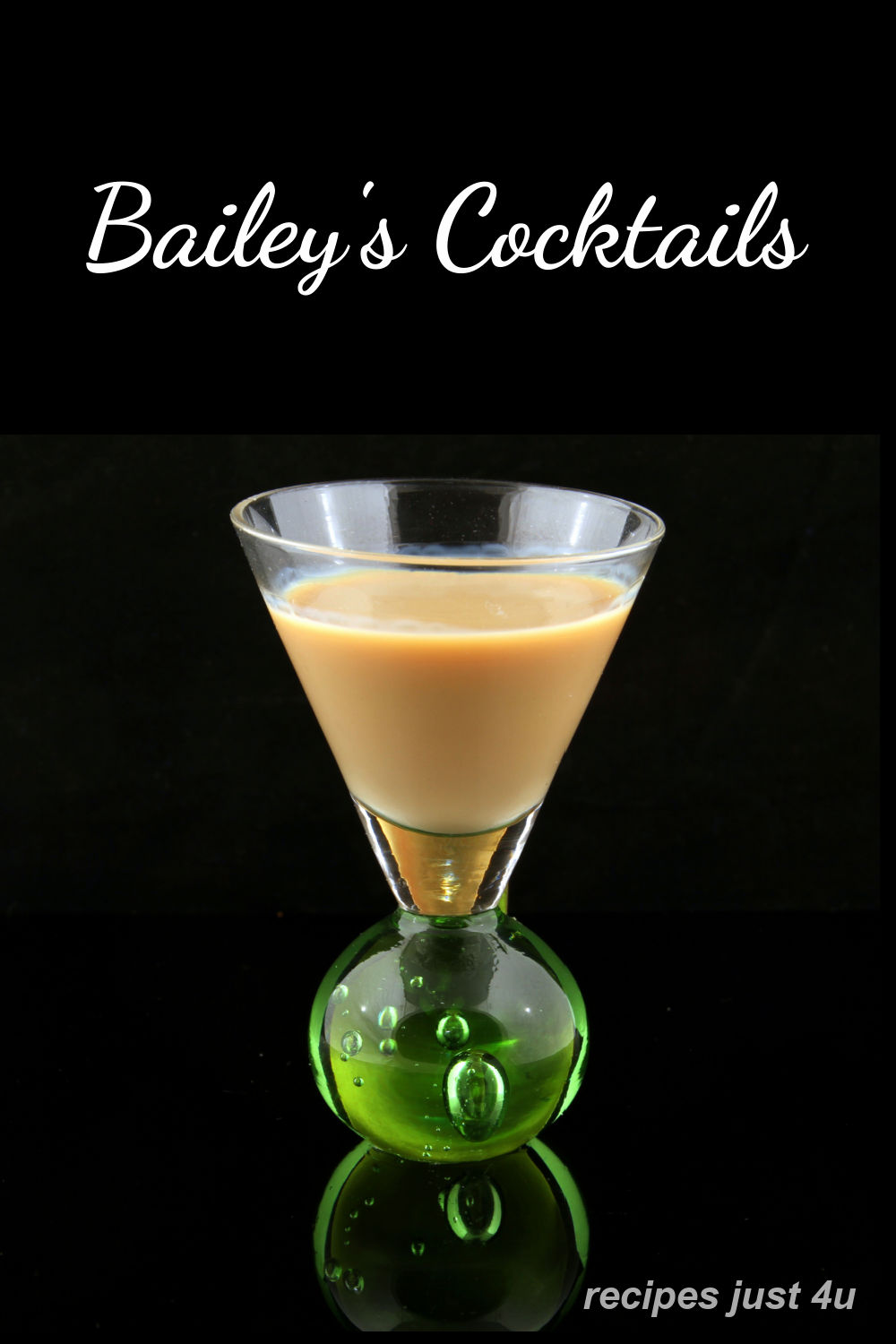 "Irish cream in a shot glass on a black background with words ""Bailey's Cocktails."""