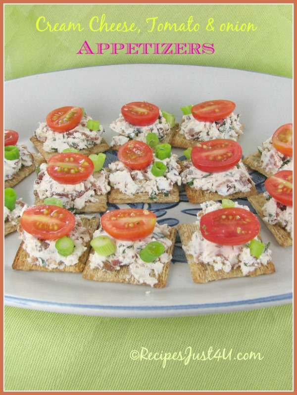 Cream cheese appetizers with Tomato and spring onions