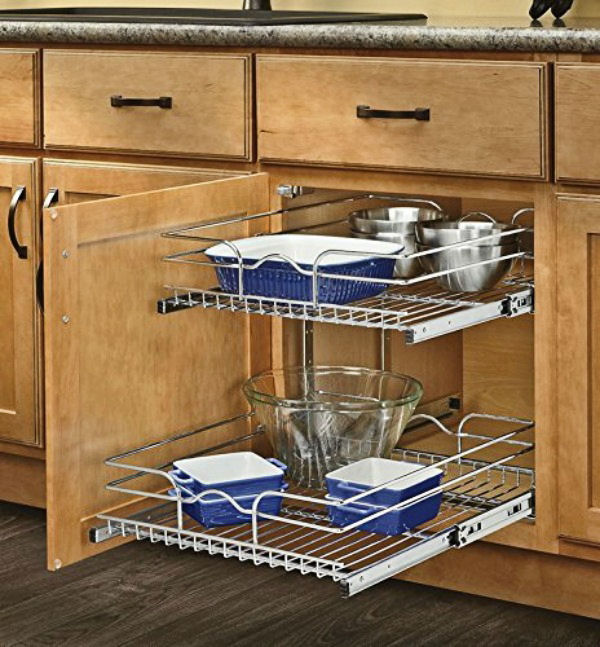 Slide out cabinet organizers.