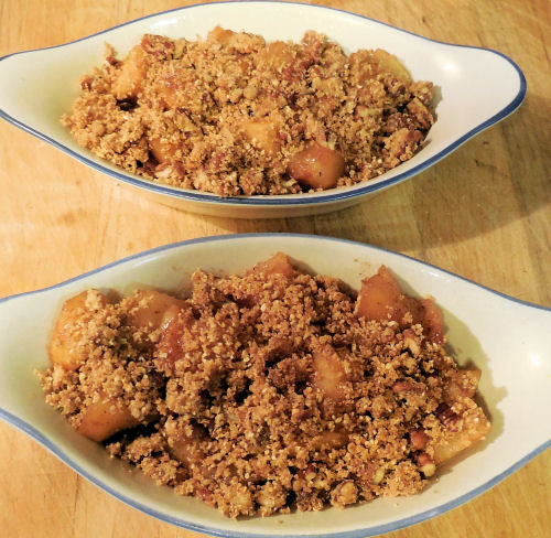 Apple and pear crisp ready to bake