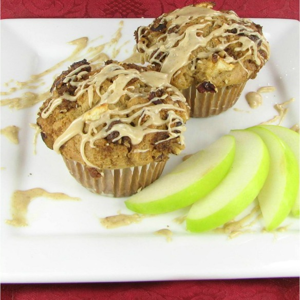 apple muffins with a caramel glaze