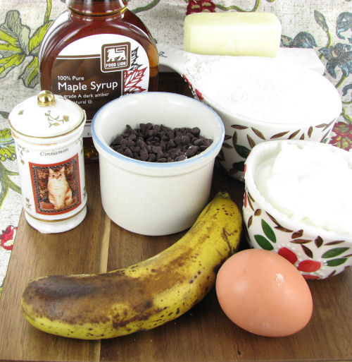 ingredients for chocolate chip banana bread