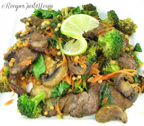 Beef Broccoli Stir fry with spinach