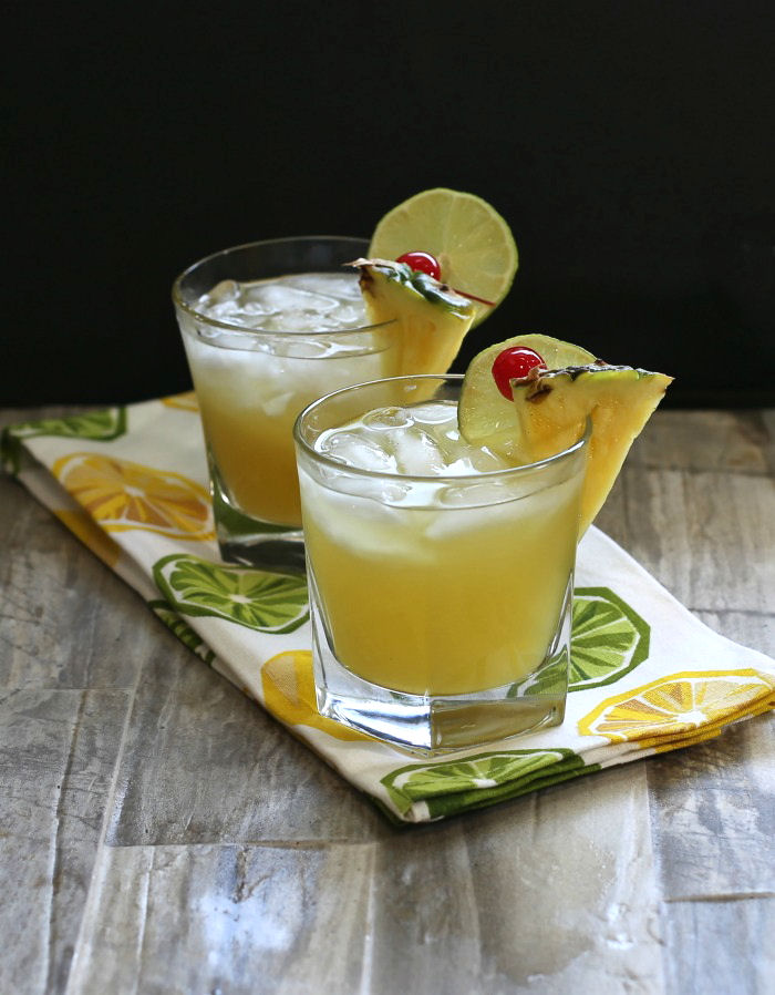 Time for a Patron silver pineapple cocktail. It's fruity and tart and easy to make.