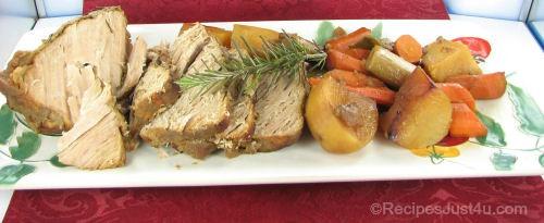 Slow Cooker Applesauce Pork Loin and Vegetables