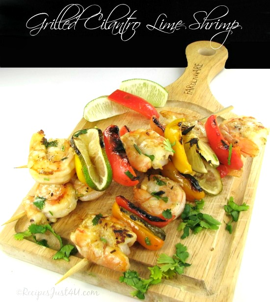 This recipe for grilled cilantro lime shrimp is the perfect summer time recipe.  It would be great to serve on Cinco de Mayo. recipesjust4u.com