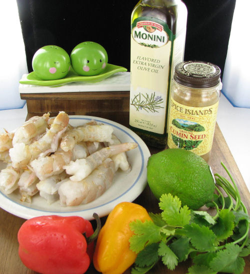 Ingredients for cilantro lime grillled shrimp kebabs