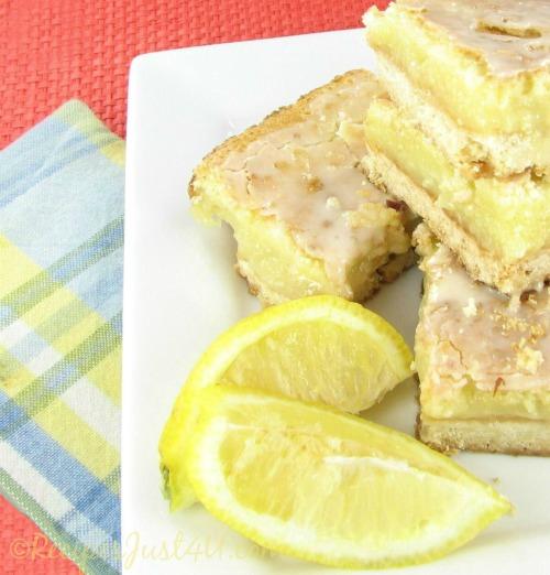 Refreshing and light glazed lemon bars
