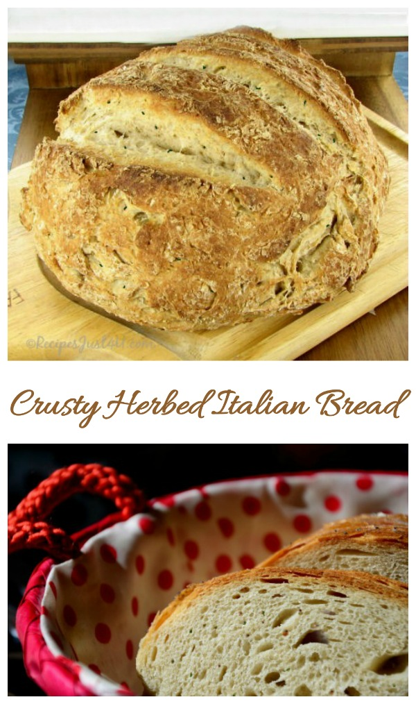 This Italian bread recipe is so easy to make. Bake some crusty herb bread for the holidays! #italianbread #crustyherbbread