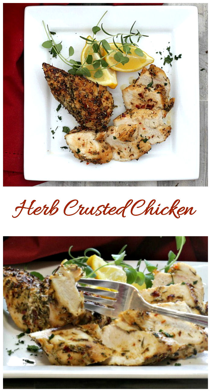 These herb crusted chicken breasts are baked in the oven for a super easy dinner idea.