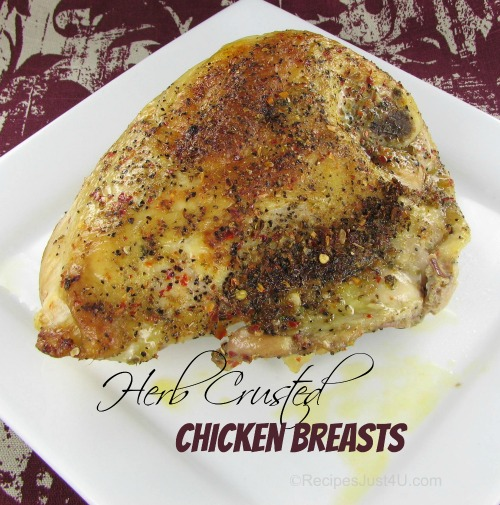 Herb Crusted Bone In Baked Chicken Breasts