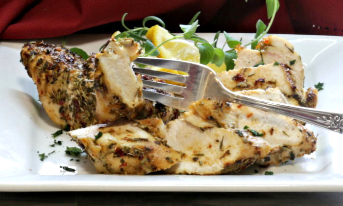 Tasting herb and garlic chicken