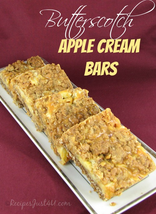 Decadent Butterscotch apple bars. Like a toffee apple and snickers bar in a dessert!