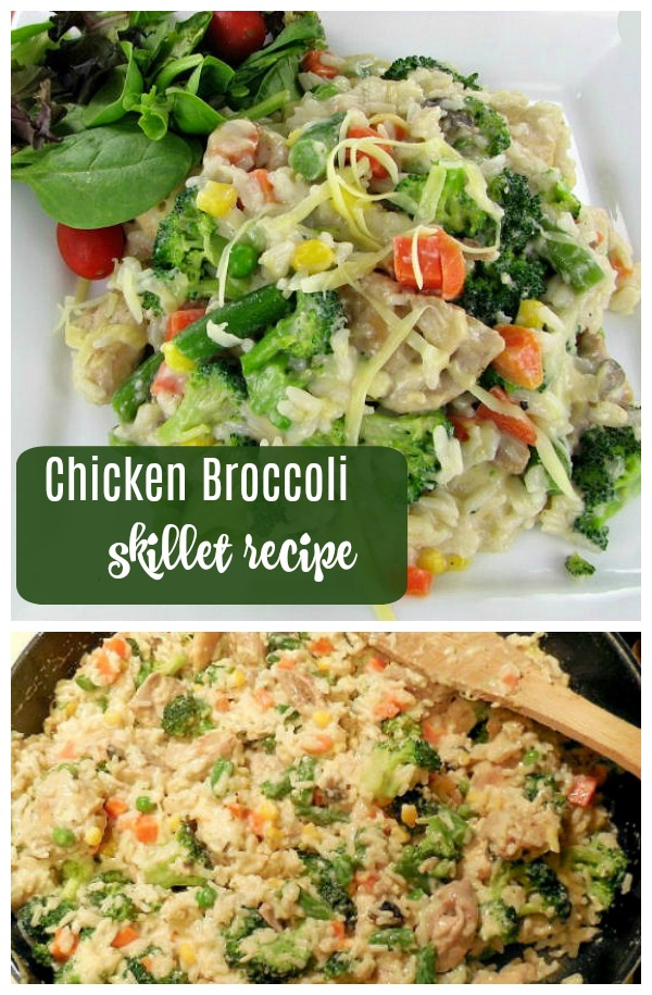 Easy chicken broccoli skillet recipe with rice - ready in less than 20 minutes!