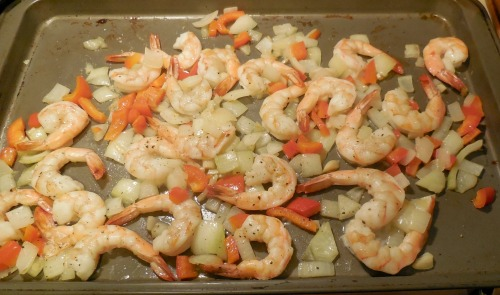 Cooked shrimp with onions and peppers