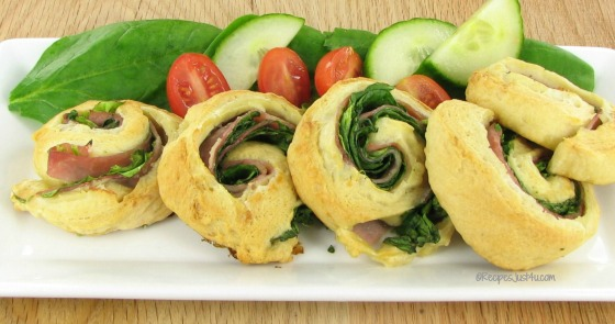 Ham and spinach pinwheel appetizer