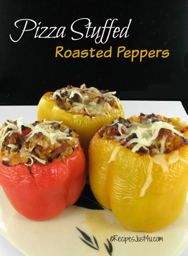 Having trouble getting your kids to eat veggies? Well no more!  Try these pizza stuffed peppers.
