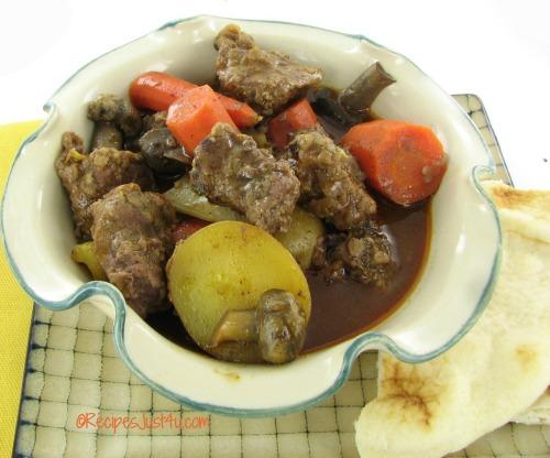 Crock pot beef tips in a Moroccan Mushroom sauce