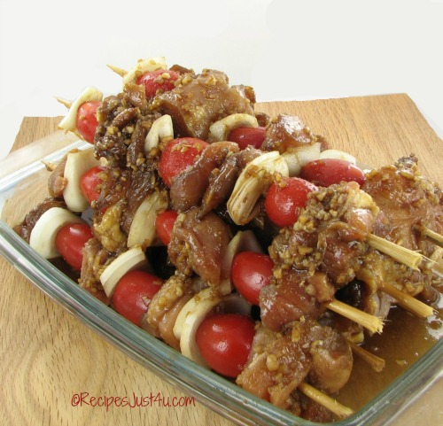marinated Chinese chicken kebabs