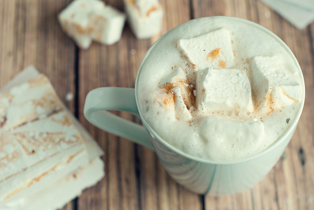 Pumpkin spiced latte with pumpkin masrshmallows from asimplepantry.com