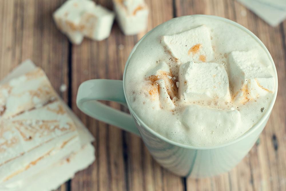 Pumpkin spiced latte with pumpkin masrshmallows from asimplepantry.com