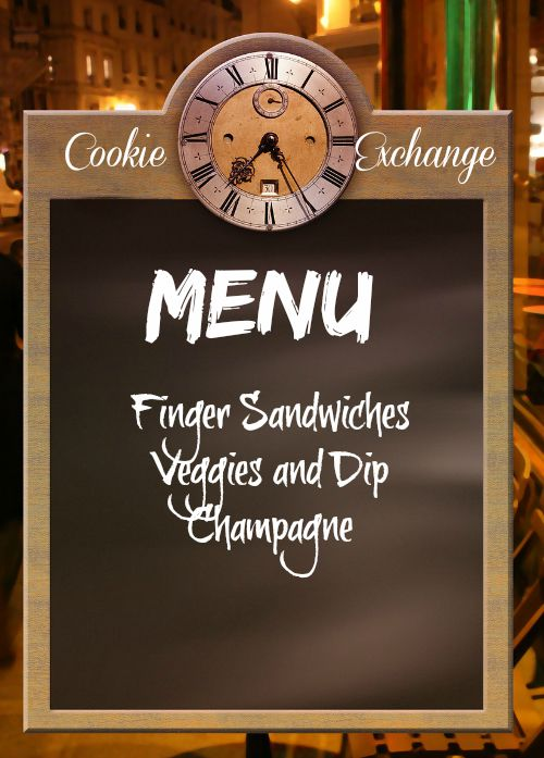 Chalkboard with a cookie exchange menu on it.