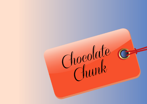 Cookie exchange label on a blue background with words chocolate chunk on it.