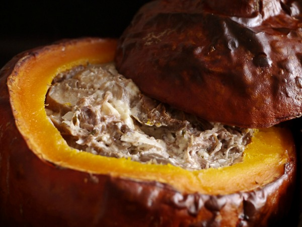 pumpkin dip served in a shell.
