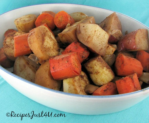 Roasted Root Vegetables with Maple cinnamon