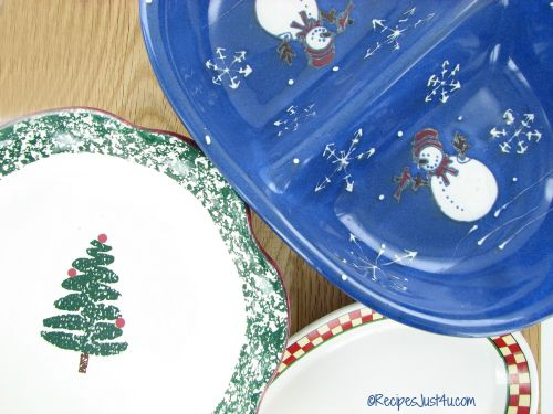 Holiday serving dishes with Christmas patterns.