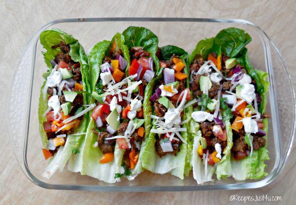 healthy beef taco lettuce wraps