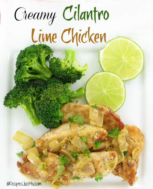 Creamy chicken with cilantro lime sauce