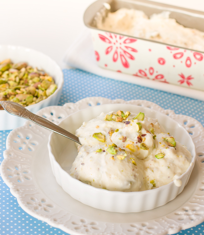 Homemade coconut and pistachio ice cream from my friend Regina at mollymel.blogspot.com. This is a delicious no churn recipe.
