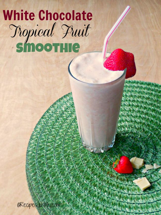 This white chocolate peanut butter tropical fruit smoothie is perfect for a pre work out drink, or an easy breakfast on the go.
