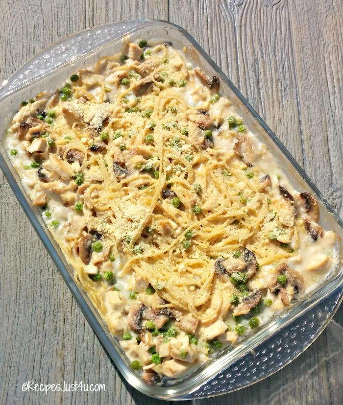 Cooked chicken tetrazzini