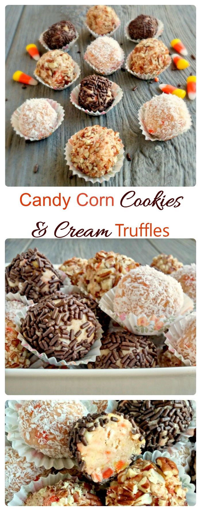 Candy Corn Cookies and Cream Truffles are the perfect way to celebrate the season.  Candy corn is not just for Trick or Treaters!