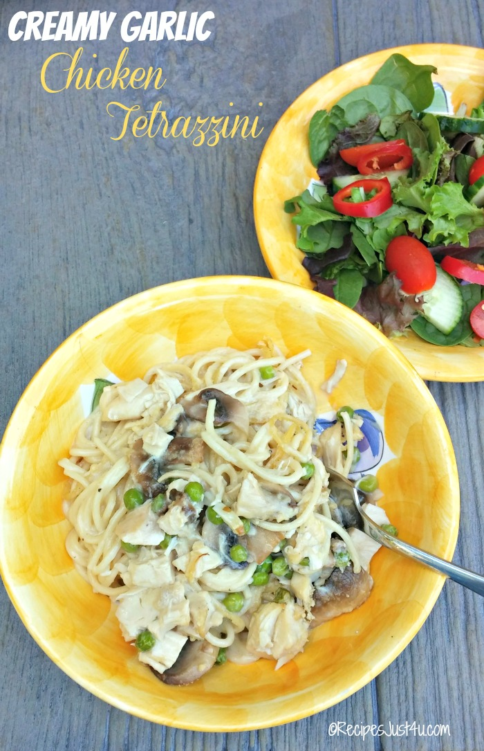 This creamy garlic chicken tetrazzini recipes is full of flavor. It has a homemade sauce that is to DIE FOR!